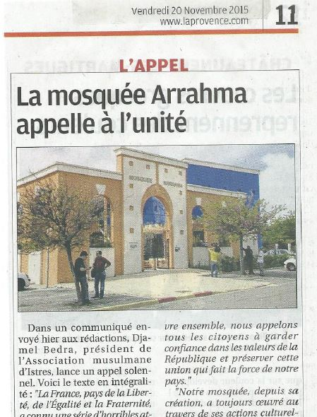 Capture LaProvence du 20 11 2015 La mosque Arrahma appelle a l unit